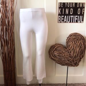 Zara cream cropped knit pants w/elastic waistband